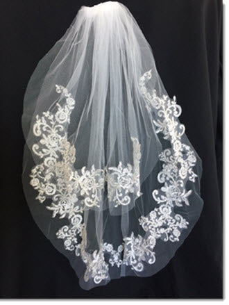 Ivory  Two-tier Lace Applique Edge  Veil with silver stitching