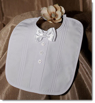 Christening Bib with Bowtie - Little Angels Couture