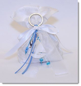 PJB1011 - 100% handwoven raw silk pouch with a natural freshwater pearl boat keyring - Little Angels Couture