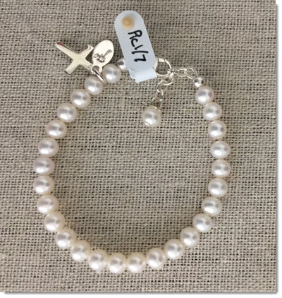Classic White 'Petite' Freshwater Pearl Bracelet with Sterling Silver Cross.