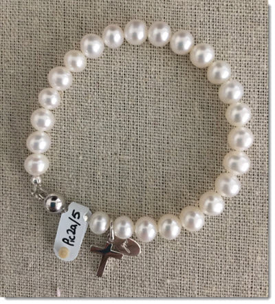Classic White Freshwater Pearl Bracelet with a Sterling Silver Cross.