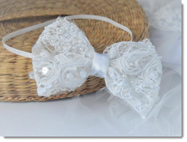 Christening headband - sequin and pearl lace bow