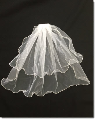 Two tier Short Veil with stitched edging