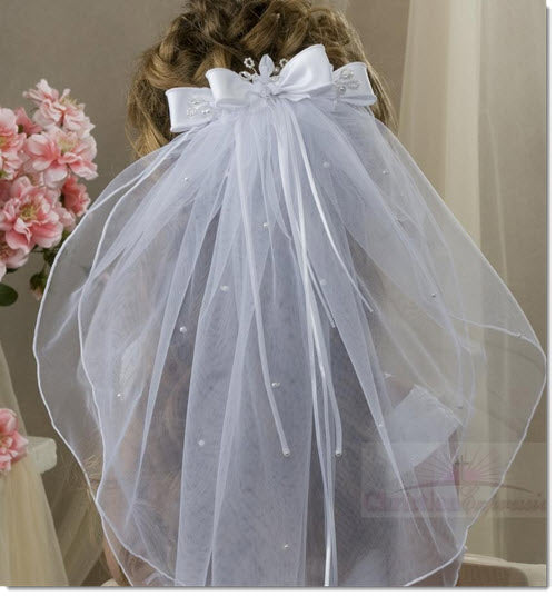 825 - First Communion Clip Veil Organza Satin Bow Pearl Crystals