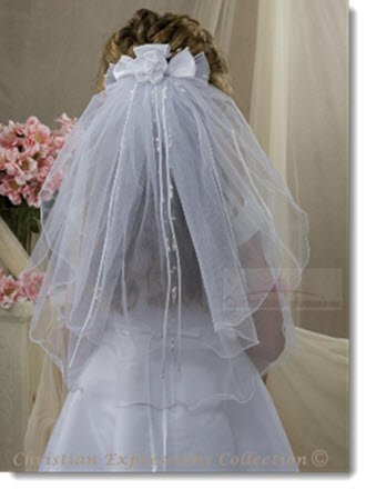 841 - First Communion Clip Veil with Streamers and Large Satin Rosette