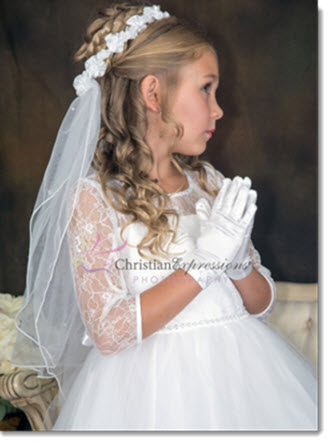 V92  First Communion Wreath Veil with Satin Flowers and Pearls