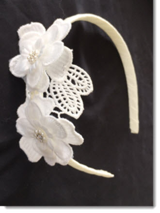 Ivory lace applique headband