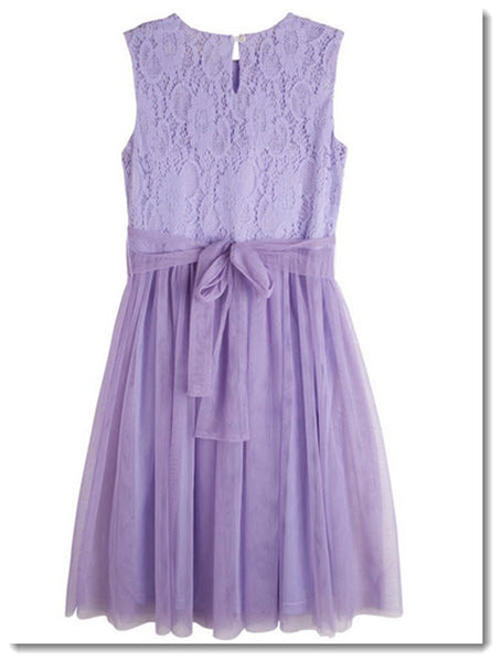 Audrey Lace Bodice Dress - Lilac