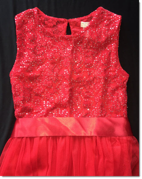 Audrey Lace Bodice Dress - Red