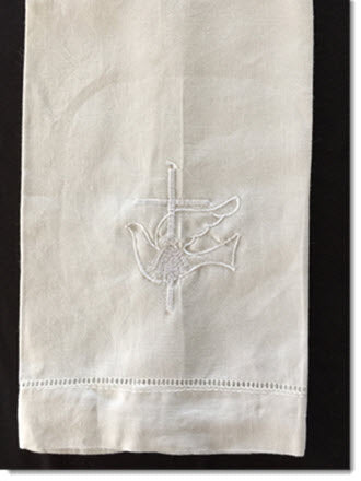 Baptism Towel with Dove and Cross