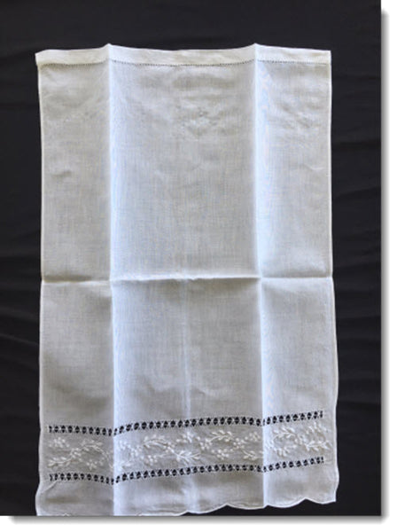 Baptism Towel With Floral Vine Embroidery
