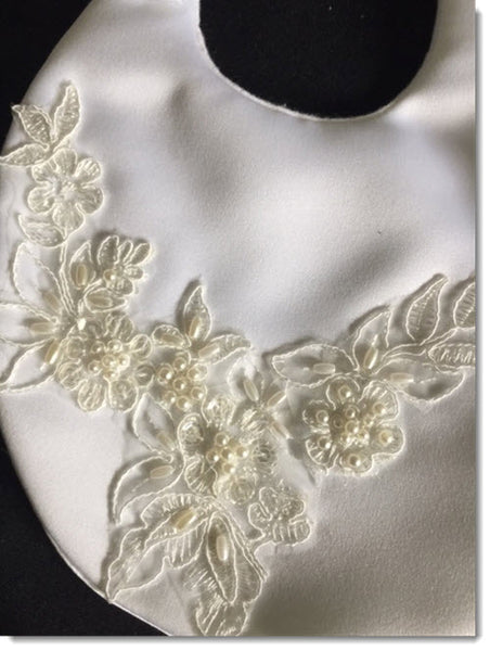 Christening Bib with Beaded Lace Applique