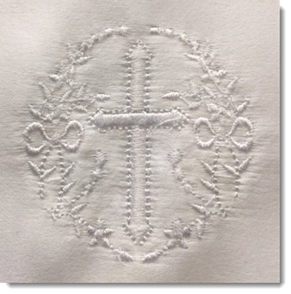 Baptism bib with cross  and wreath embroidery and lace trim