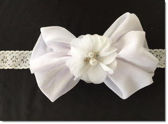 Bow with shabby flower diamantes and pearls