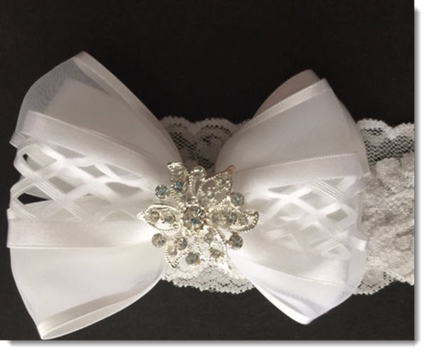 Christening headband with lattice and satin ribbon