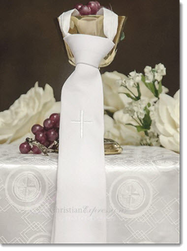 Boys white Tie with Embroidered Cross