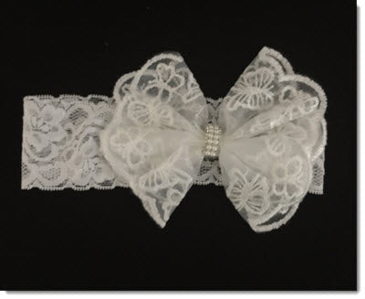 Christening Headband - Lace butterflys
