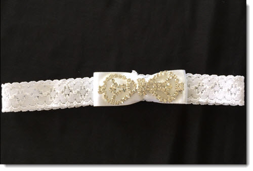 Christening Headband with Diamante bow