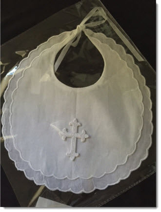 White cotton bib with white Cross - Little Angels Couture