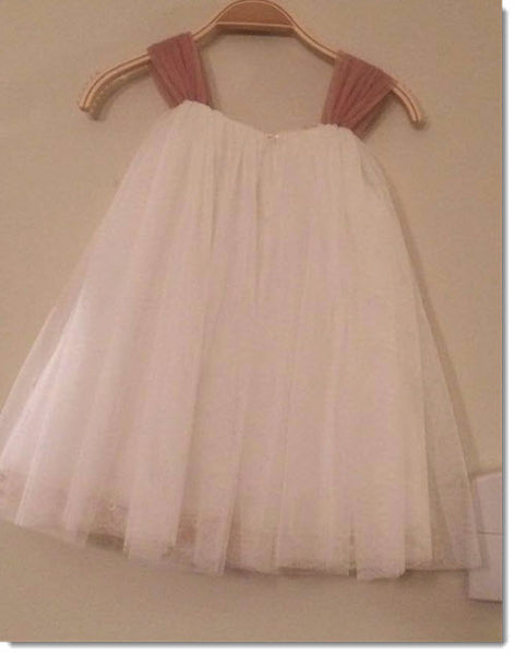 Dolce Bambini -  Tulle Dress with Salmon Sleeves