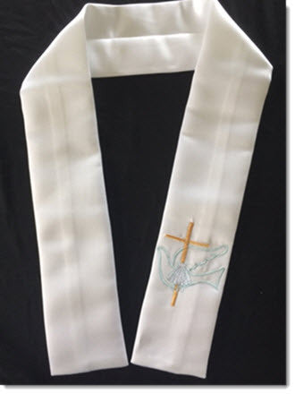 Baptism Stole with Dove and Cross Coloured