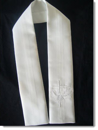 Baptism Stole with Dove and Cross - Little Angels Couture - 1
