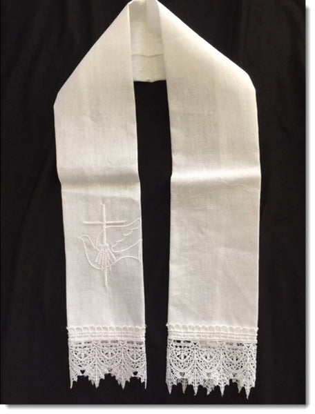 Baptism Stole with Dove and Cross Guipure Lace Trim