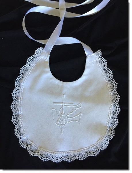 Baptism bib with dove and cross embroidery and lace trim