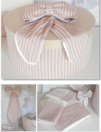 Christening Box - Dusty Pink/Ivory Stripe Set - Little Angels Couture - 3