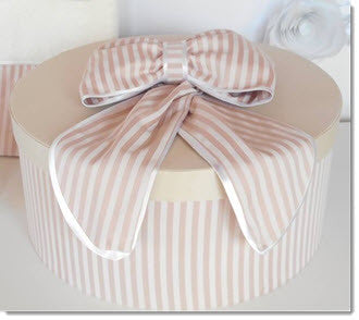Christening Box - Dusty Pink/Ivory Stripe Set - Little Angels Couture - 1
