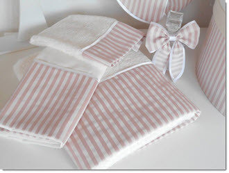 Lathopana - Dusty Pink/Ivory Stripe Set - Little Angels Couture
