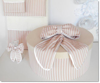 Christening Box - Dusty Pink/Ivory Stripe Set - Little Angels Couture - 2