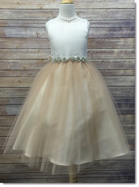 EK 05 RB Satin Top And Tulle Dress With Rhinestone Belt