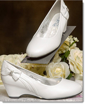 First Communion Shoes Wedge with Bow - Little Angels Couture
