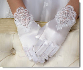 70 - Satin Gloves Lace and Rhinestones