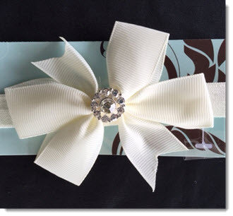 Christening Headband with Ivory Grosgrain bow and diamante - Little Angels Couture - 2