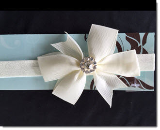 Christening Headband with Ivory Grosgrain bow and diamante - Little Angels Couture - 1