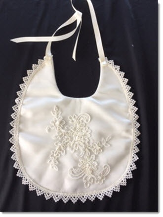 Ivory Satin Bib with beaded lace applique/Venice lace trim