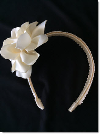 Satin Flower Headband - White or Ivory