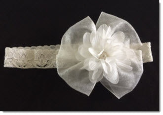 Ivory organza ribbon and pearl flower headband