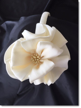 Ivory Satin Flower Headband