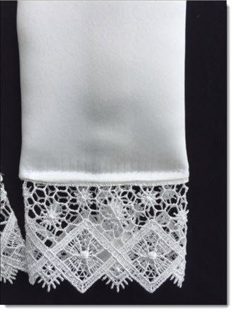 Ivory Baptism stole with lace - Little Angels Couture - 2