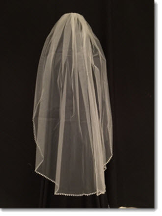 Ivory First Communion veil with Diamante Edge