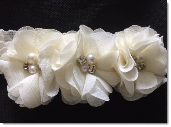 Christening Headband Ivory with shabby flowers
