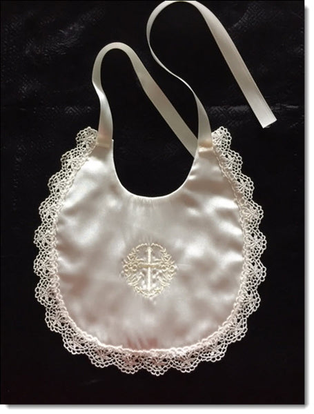 Ivory Satin bib with Embroidered Cross