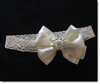 Ivory Christening headband with double satin bow