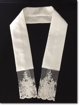 Ivory Stole with floral  net lace trim