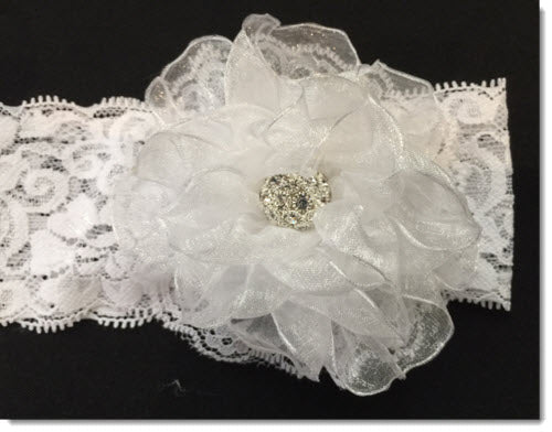 Christening Headband with Kanzashi organza flower with Diamante - wide lace band