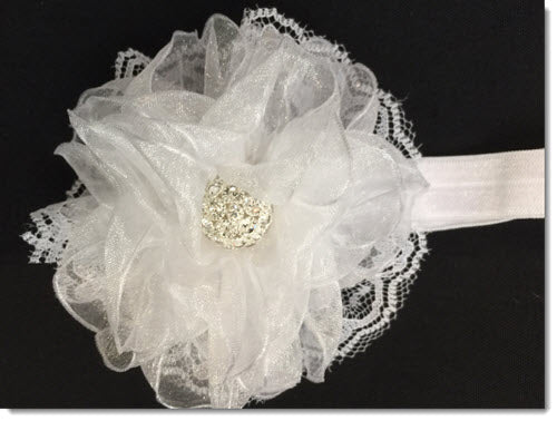Christening Headband with Kanzashi organza flower with Diamante - narrow band
