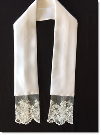 Satin stole with fine net lace - small flower